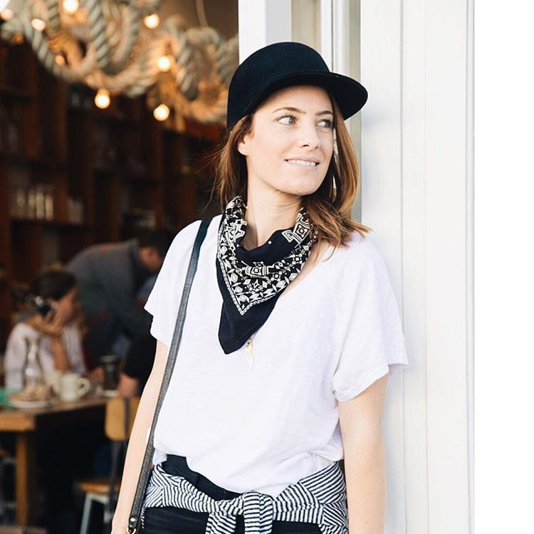 A White T Shirt A Black Bandana A Black Cap A Knotted Striped Shirt And Black Bottoms 100 Easy Outfits To Try When You Truly Hate Your Closet Popsugar Fashion Middle