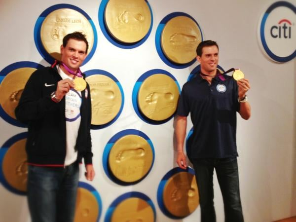 US tennis players Bob and Mike Bryan showed off their gold medals.  Source: Twitter user Bryanbros