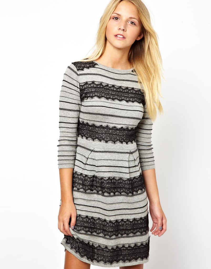 Your everyday jersey dress ($53, originally $75) gets dressed up with some bands of thick black lace.