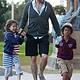 Hugh Jackman chatted with his children, Oscar and Ava, while spending a day together in Sydney in July 2012.