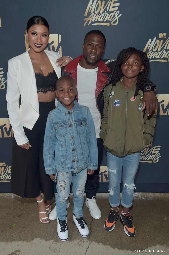 Kevin Hart had the support of his loving family at the MTV Movie Awards in LA on Saturday night. The comedian, who was on hand to host the show with Dwayne Johnson, was all smiles while posing for photos backstage with fiancée Eniko Parrish and his two children, Hendrix and Heaven. Throughout the week, Kevin has taken to both Instagram and Snapchat to share his excitement over hosting the ceremony and even gave fans a behind-the-scenes peek at rehearsals on Friday. Read on to see more of his night, and then relive his epic Lip Sync Battle performance against Olivia Munn.
