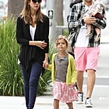 Jessica Alba and Cash Warren went to lunch in LA Saturday with daughters Haven and Honor.