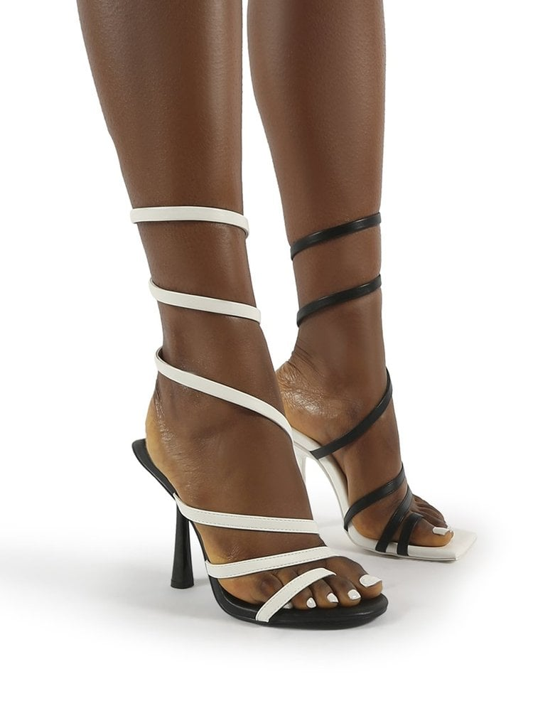 Public Desire Loopy Mono PU Ankle Wrap Around Heels
