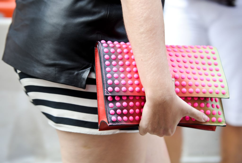 Clutches seemed to be the carryall of choice — this one came brighter than most.