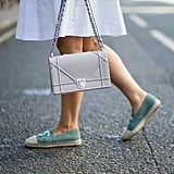 Style a Designer Pair With a White Dress and Chain-Link Bag