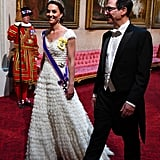June: Kate wore a sparkly tiara for a state banquet.