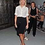 Linda Wells was sophisticated and chic in a crisp button-down and black pencil skirt while taking in the Zac Posen collection.