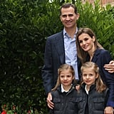 The royal family posed for pictures in Madrid, Spain, on the couple's 10th wedding anniversary in May 2014.
