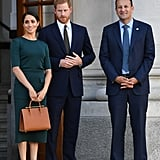 Meghan Markle Fall Outfit Idea: A 3/4 Sleeve Top and Matching Skirt