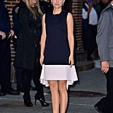Natalie kept things chic and simple in a breezy black and white dress by Dior — with shoes to match — when she arrived to the Late Show with David Letterman in New York. She finished the look with jewelry by Harry Winston.