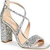 Badgley Mischka Cook Block-Heel Glitter Sandal