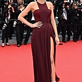 Wearing a Gucci Première dress, Lorraine Schwartz jewelry, and Casadei shoes to the 2014 opening ceremony and the Grace of Monaco premiere in Cannes.