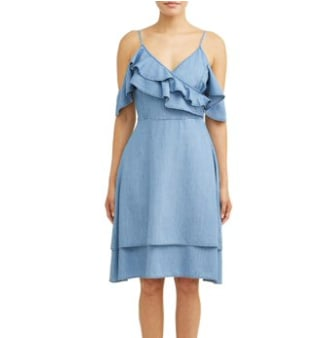 Cold-Shoulder Ruffle Midi Dress