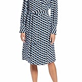 Halogen Wrap Dress in Blue-Ivory Geo Print