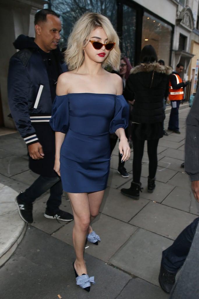 Selena Gomez Hit London Wearing the Most Festive Holiday Shoe