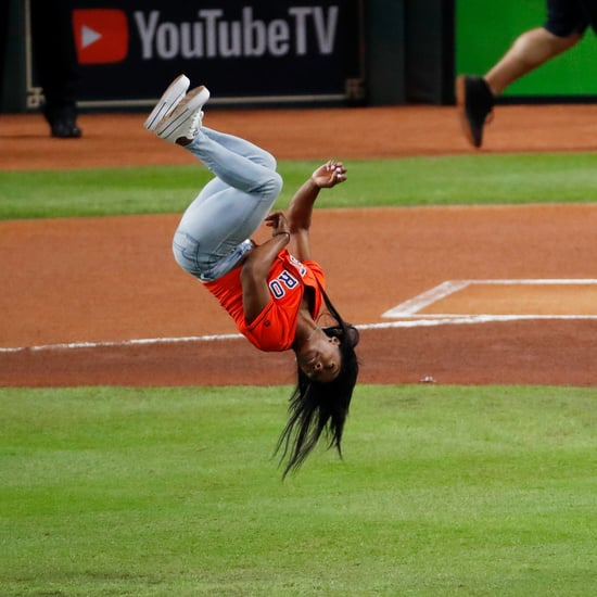 Watch Simone Biles Flip Before Throwing World Series Pitch
