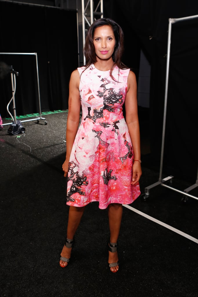 Padma Lakshmi put a pretty pink floral spin on her front-row ensemble at Monique Lhuillier.