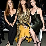 Debby Ryan, Angela Sarafyan, and Rainey Qualley at Cushnie Fall 2019