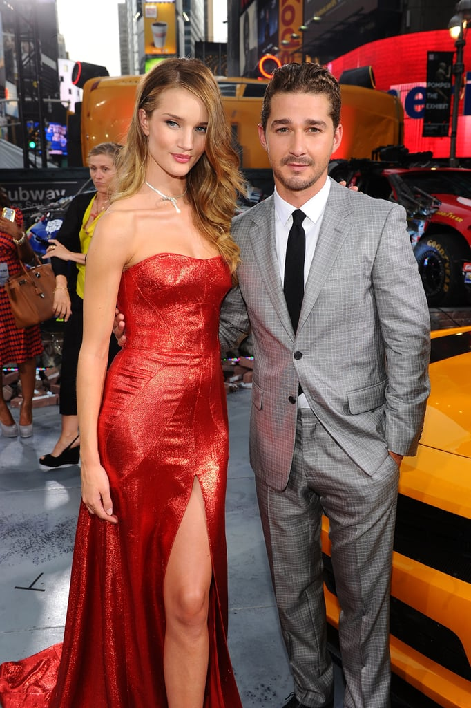 Rosie Huntington-Whiteley and Shia LaBeouf smiled for the cameras in NYC.