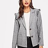 Shein Single Button Frill Trim Blazer