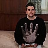 David Rose's Dries Van Noten Hand Sweatshirt During Part 1 of the Schitt's Creek Series Finale