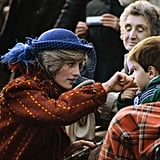 Diana sweetly wiped a boy's cheek during a royal appearance.