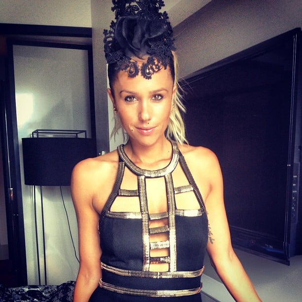 Pip Edwards in HatMaker millinery and sass & bide dress. Source: Instagram user pip_edwards1