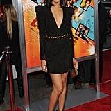 Zoe in suede Balmain at The Losers premiere in LA.