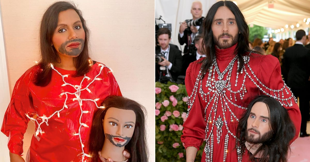 Popsugar On Flipboard Mindy Kaling Re Created Jared Leto S Met Gala Head Moment And We Re Cackling