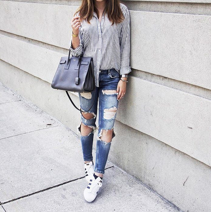 279829813f Distressed Denim, a Button-Down, and Trainers   43 Outfits Everyone ...