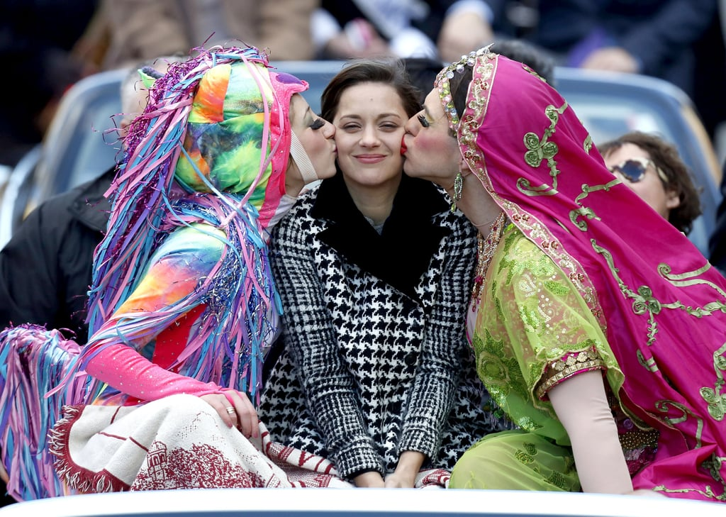 Marion Cotillard was in Cambridge, MA, today to accept her Harvard Hasty Pudding Woman of the Year award with a parade. The celebratory ride through Cambridge was followed by a roast, where Marion received a traditional pudding pot. The honor went to Claire Danes last year, and the group's honorary male recipient will be named at a later date and recognized on Feb. 8. Marion was also celebrated on the red carpet earlier this month. Marion attended the SAG Awards in an eye-catching blue-and-white Dior gown after also appearing at the Golden Globes and the Critics' Choice Awards. Though Marion was nominated for outstanding performance by a female actor for her role in Rust and Bone at the SAGs, the best actress honor went to Silver Linings Playbook star Jennifer Lawrence. Marion nonetheless has a seal of approval from her husband, Guillaume Canet. Marion and Guillaume kissed at The Grove last week while they shopped with their adorable 1-year-old son, Marcel.