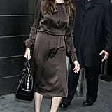 Angelina Jolie wearing a brown dress in NYC.
