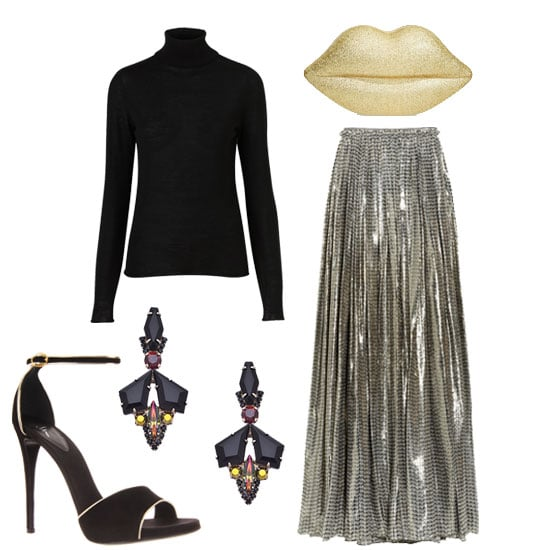 We love the idea of pairing a turtleneck with a fancy metallic skirt and sexy accompaniments for a black-tie-appropriate soiree.  Shop the look:  Topshop Knitted Merino Wool Roll Neck Top ($90) Lanvin Printed Silk-Blend Lamé Maxi Skirt ($1,960, originally $4,900) Sorrelli Onyx Mache Drop Earrings ($73) Lulu Guinness Glittery Lips Perspex Clutch ($403) Giuseppe Zanotti Ankle-Strap Sandal ($595)
