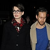 Anne Hathaway and Adam Shulman headed to the screening.