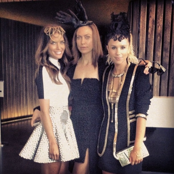 Jodi Gordon, Jaz Daly and Pip Edwards (wearing sass & bide and HatMaker). Source: Instagram user pip_edwards1