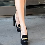 A closer look at Michelle's Tabitha Simmons For Honor platform loafers.
