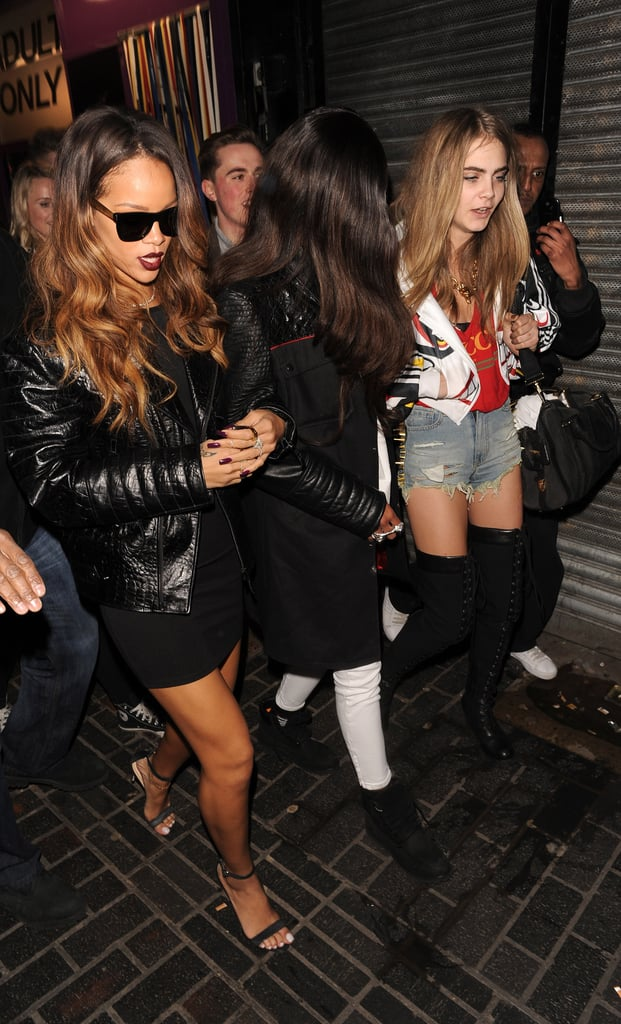 Rihanna arrived at The Box nightclub with Cara Delevingne on Saturday.