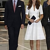 The Duke and Duchess wore matching goggles while they toured a Rolls-Royce factory.