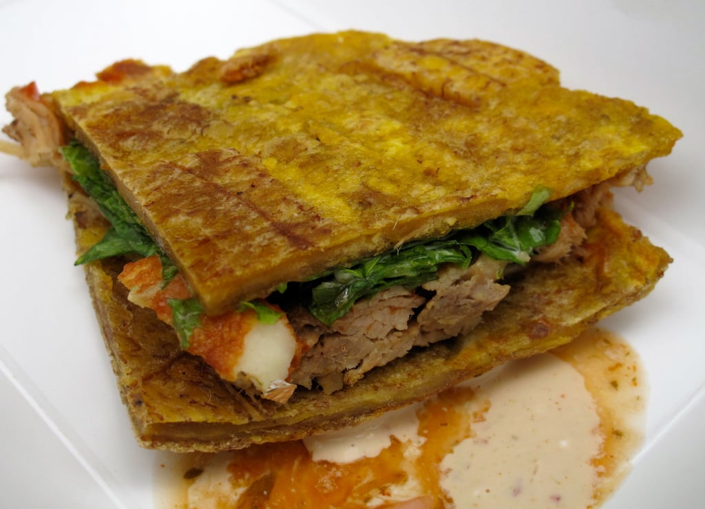 Venezuelan truck Patacon Pisao was handing out patacones, green plantain sandwiches made with fried plantains, pork, and cheese, then paired with a chipotle sauce.