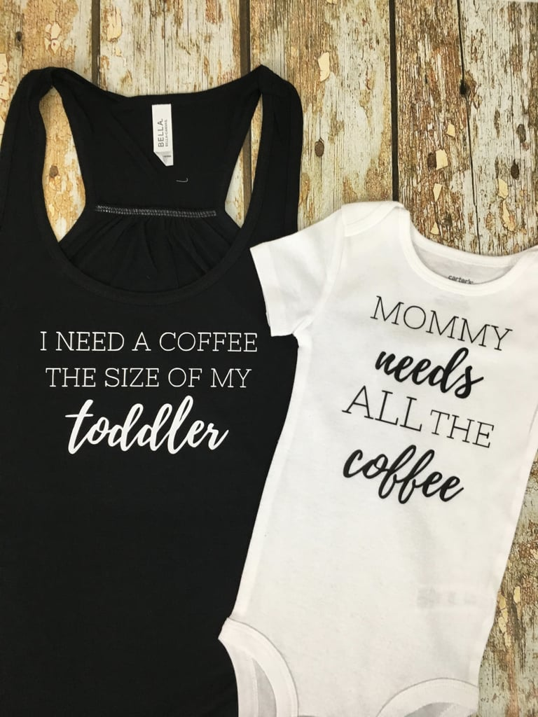 Toddler-Size Coffee Mom Tee and Baby Onesie Set