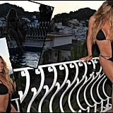 Mariah Carey shared a photo collage of her in a black monokini while on set with Miguel in Italy.  Source: Twitter user MariahCarey