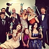 Jesse Tyler Ferguson posed in the press room with his Modern Family castmates. Source: Instagram user jessetyler