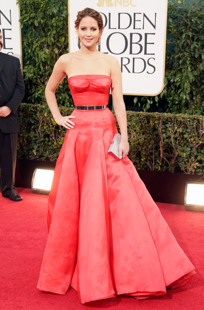 Jennifer Lawrence wore a pop of color in a Dior Haute Couture gown at the Golden Globes.
