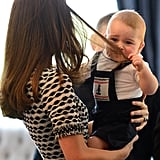 Prince George tugged on Kate's hair during a playdate in Wellington, New Zealand, on April 9.