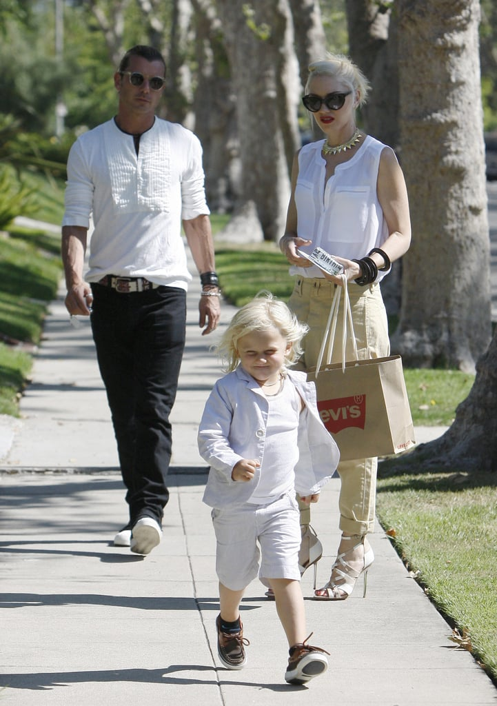 Zuma Rossdale was excited to get to his grandparents' house on Father's Day with parents Gwen Stefani and Gavin Rossdale in LA.