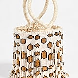 Sensi Studio Mini Leopard Beaded Bucket Bag
