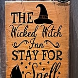 Rustic Halloween Witch Sign