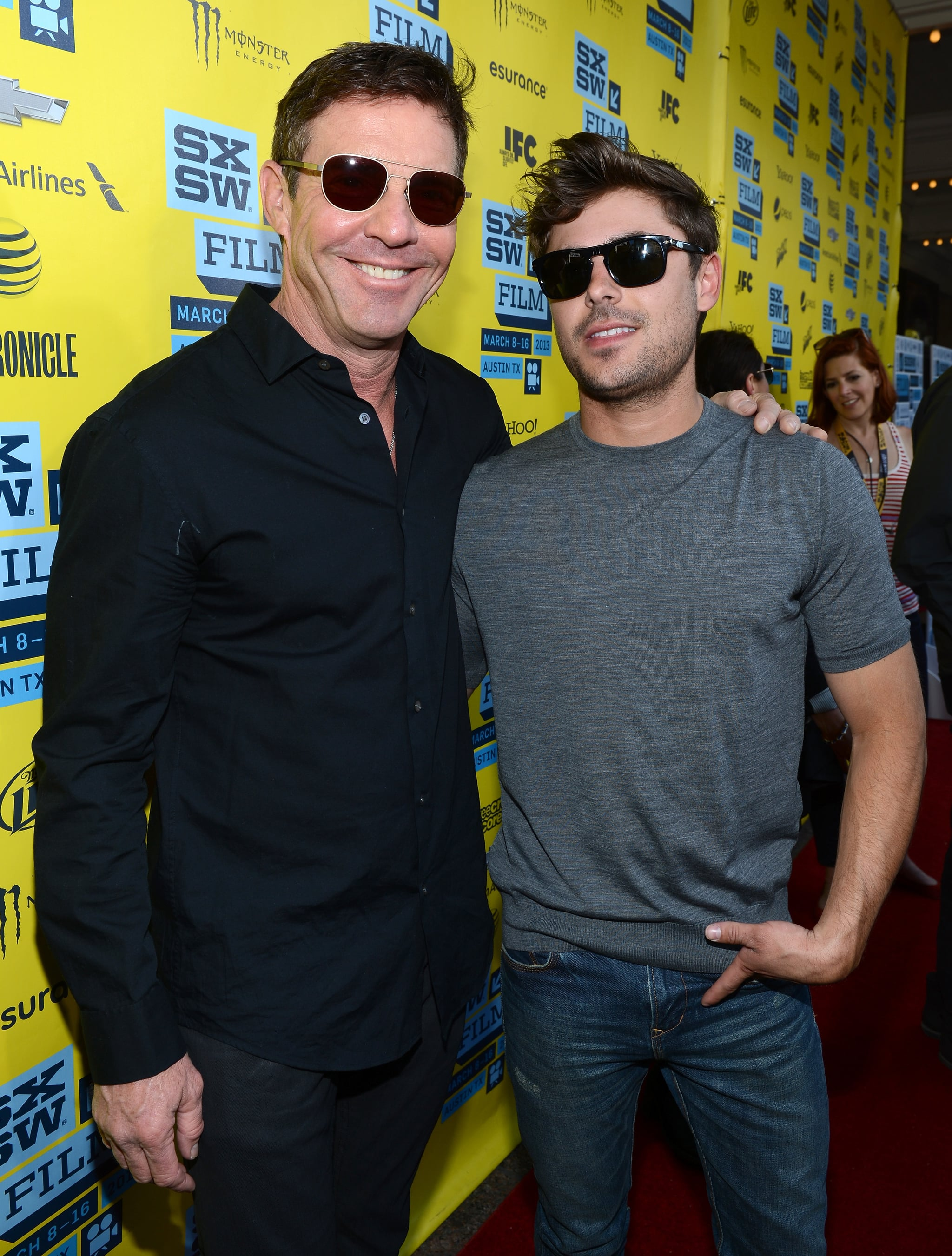 Zac Efron and costar Dennis Quaid posed on the red carpet at their At Any Price premiere at SXSW.