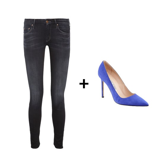 All you need to add to Mother's the Looker Skinny Jeans ($210) and Manolo Blahnik's BB Suede Pumps ($595) is a slouchy white tee and a tough leather jacket.