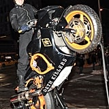 Orlando Bloom played around on a motorcycle at a store opening on Tuesday in NYC.